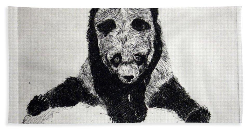 Panda Beach Towel featuring the mixed media Timido Panda by Ilaria Andreucci
