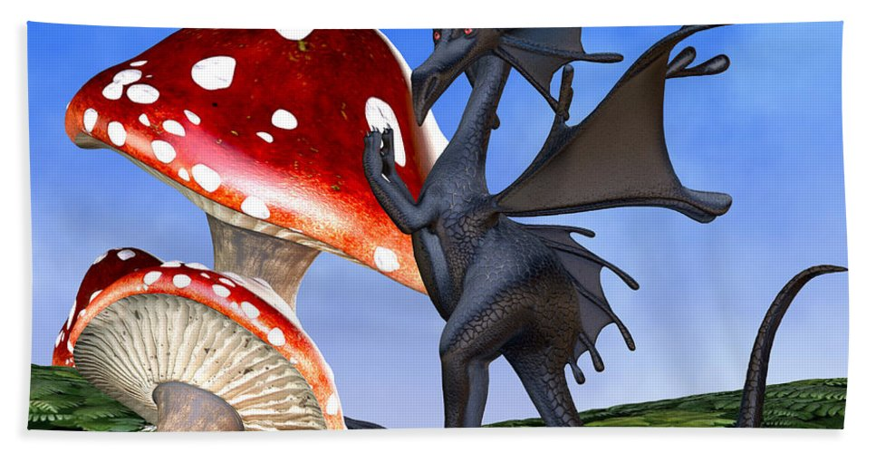 Dragon Beach Towel featuring the painting Tiny Fury Dragon by Corey Ford