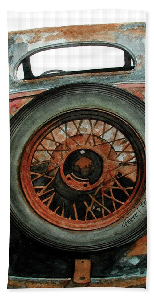 Car Beach Towel featuring the painting Tired by Ferrel Cordle