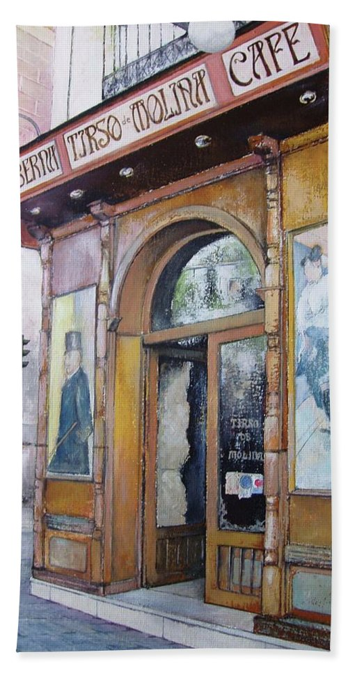 Tirso Beach Towel featuring the painting Tirso De Molina Old Tavern by Tomas Castano