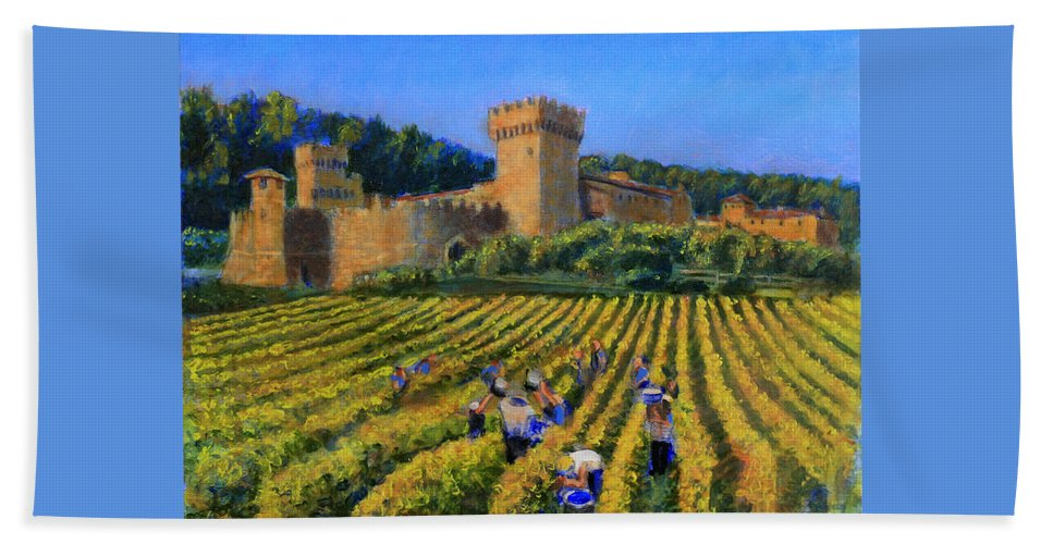 Castle Beach Towel featuring the painting To Beat The Weather by David Zimmerman