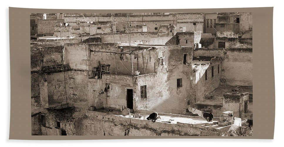 Black&white Beach Towel featuring the photograph To Praying In Fez - Morocco by Enrique Crusellas