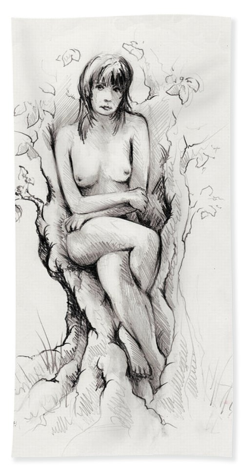 Figure Beach Towel featuring the drawing To remain by William Russell Nowicki