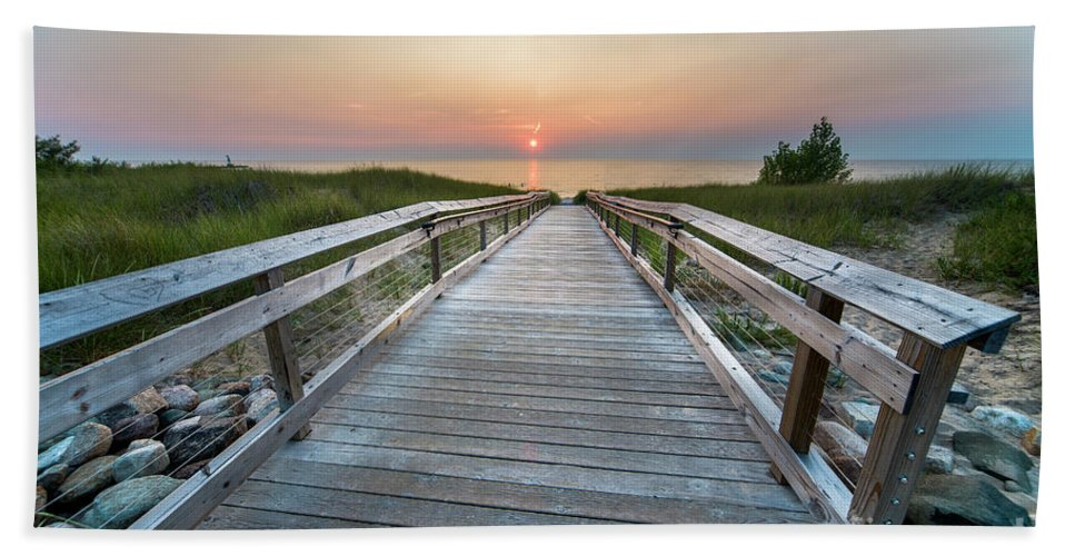Lake Michigan Beach Towel featuring the photograph To The Lake In Onekama by Twenty Two North Photography