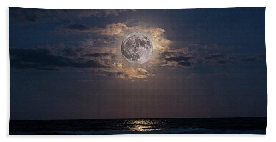 Landscape Beach Towel featuring the digital art To The Moon And Back by Shanna Robillard