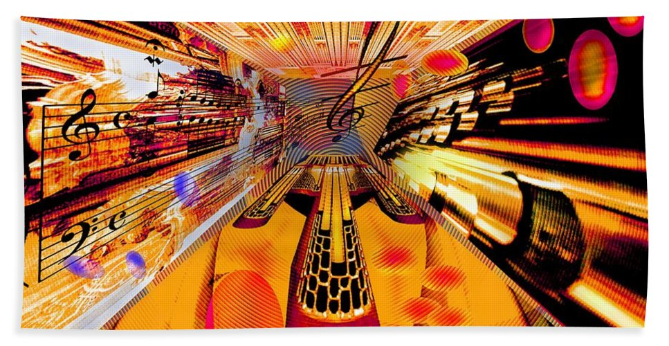 Toccata Beach Towel featuring the digital art Toccata- Masters View by Helmut Rottler