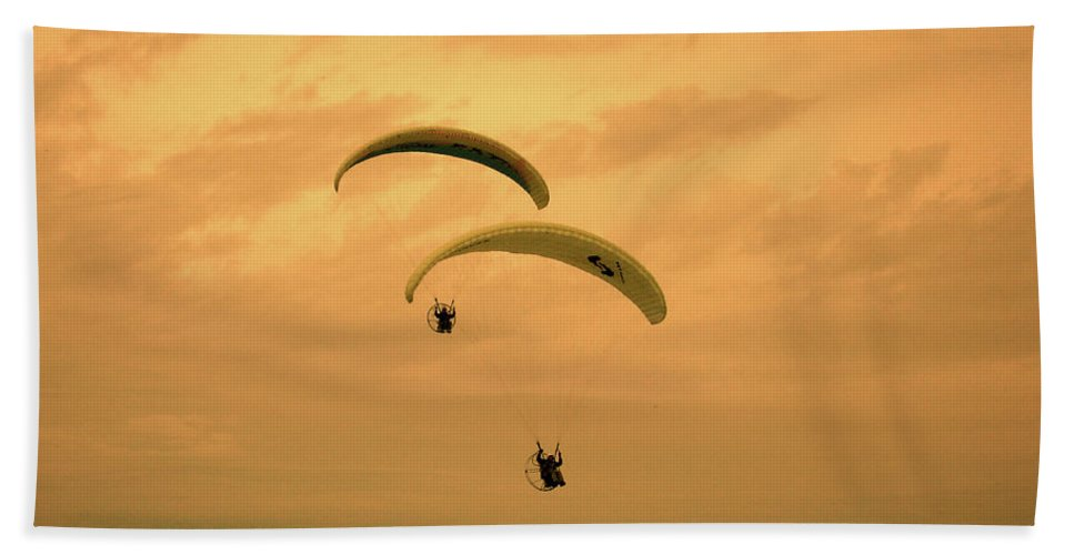 Paraglider Beach Towel featuring the photograph Together by Ilaria Andreucci