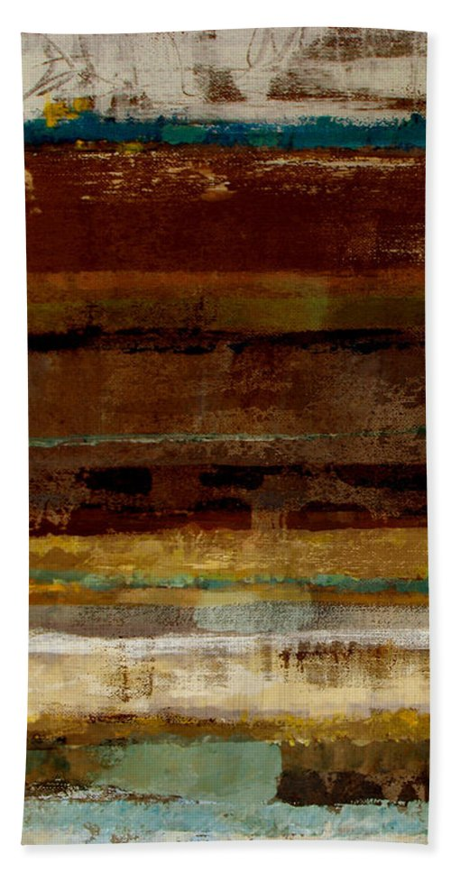 Abstract Beach Towel featuring the painting Togetherness by Ruth Palmer