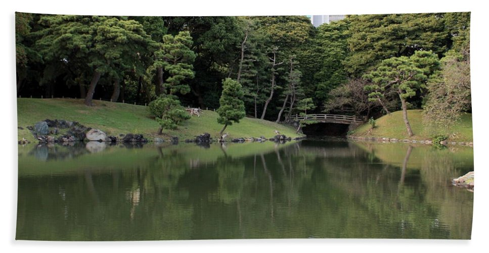 Japan Beach Towel featuring the photograph Tokyo Japanese Garden by Carol Groenen