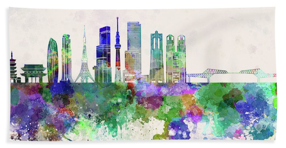 Tokyo Beach Towel featuring the painting Tokyo V3 Skyline In Watercolor Background by Pablo Romero