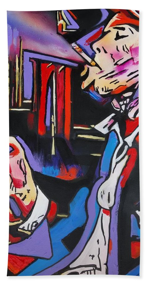 Tom Waits Beach Towel featuring the painting Tom Traubert's Blues by Eric Dee