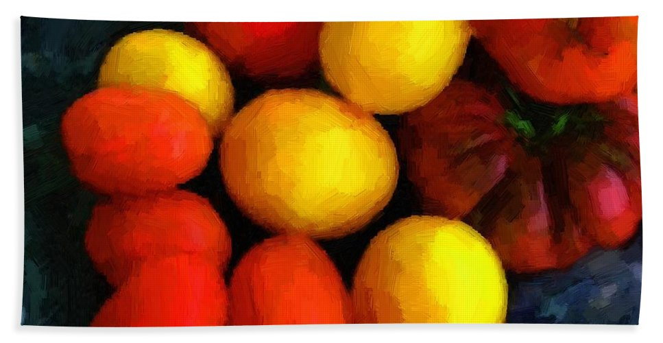 Tomatoes Beach Towel featuring the painting Tomatoes Matisse by RC DeWinter