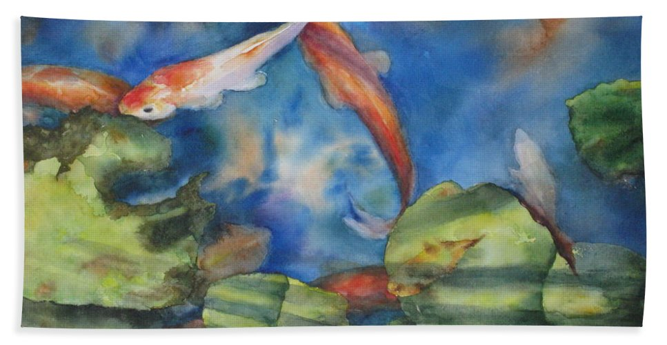 Koi Beach Towel featuring the painting Tom's Pond by Mary McCullah