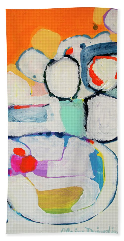 Abstract Beach Towel featuring the painting Tongue Tied by Claire Desjardins