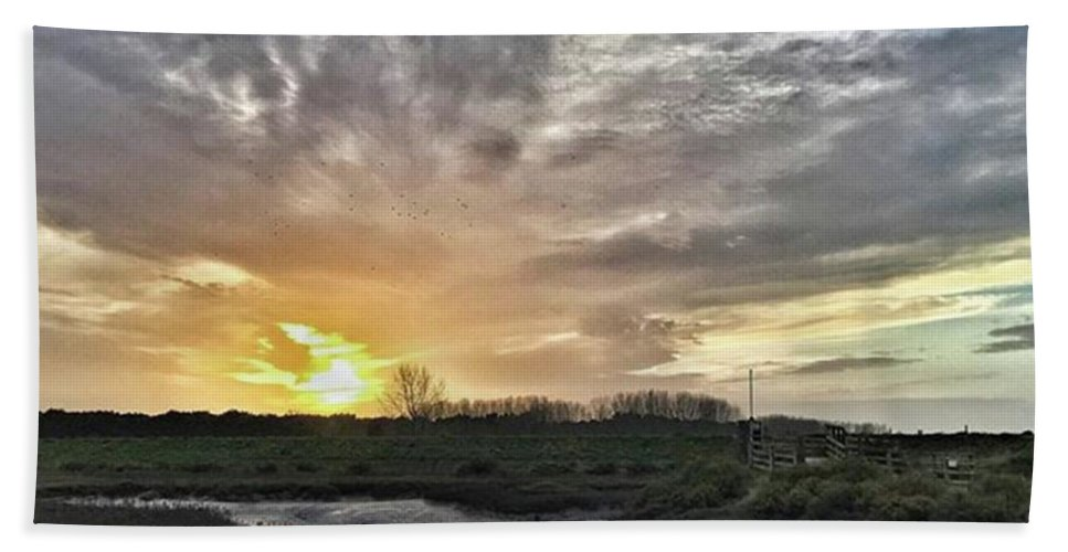 Natureonly Beach Towel featuring the photograph Tonight's Sunset From Thornham by John Edwards