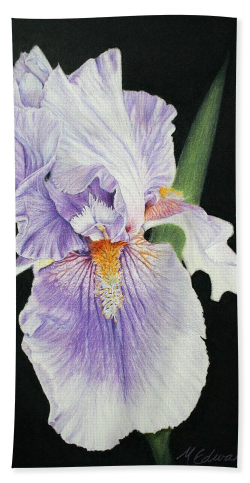 Iris Beach Towel featuring the drawing Tonto Basin Iris by Marna Edwards Flavell