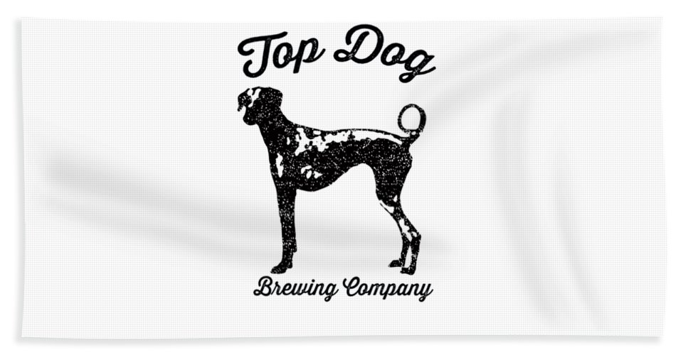 Dog Beach Towel featuring the drawing Top Dog Brewing Company Tee by Edward Fielding