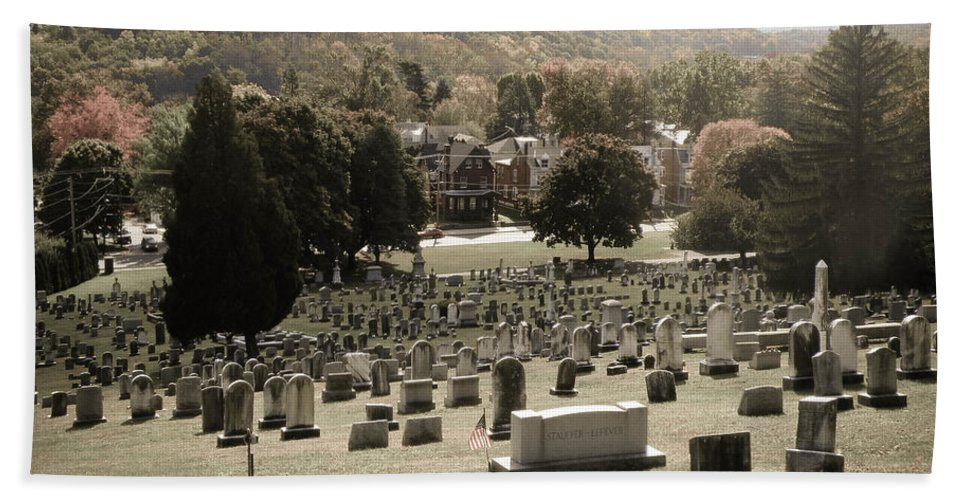 Grave Beach Towel featuring the photograph Top Of The Hill by Trish Tritz