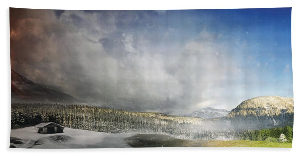 Panoramic Beach Towel featuring the digital art Topic Of Duality Winter-summer by Tobias Roetsch