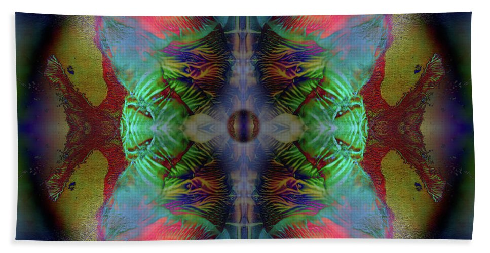 Otto Rapp Beach Towel featuring the digital art Topology Of Decalcomania Mirror by Otto Rapp