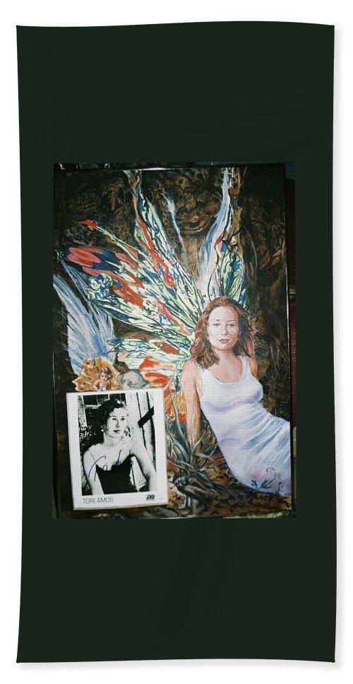 Tori Amos Beach Towel featuring the painting Tori Amos by Bryan Bustard