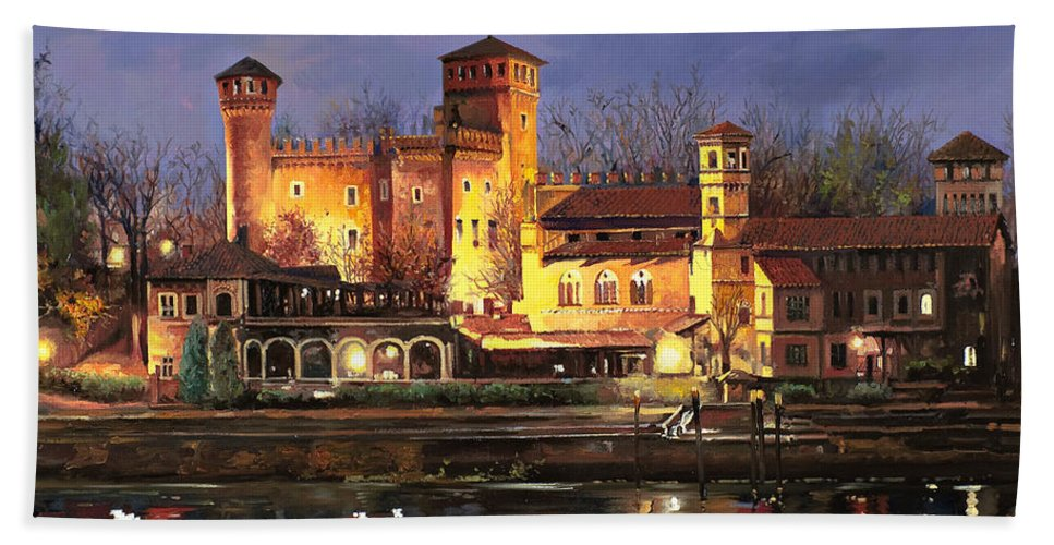 Castle Beach Towel featuring the painting Torino-il Borgo Medioevale Di Notte by Guido Borelli