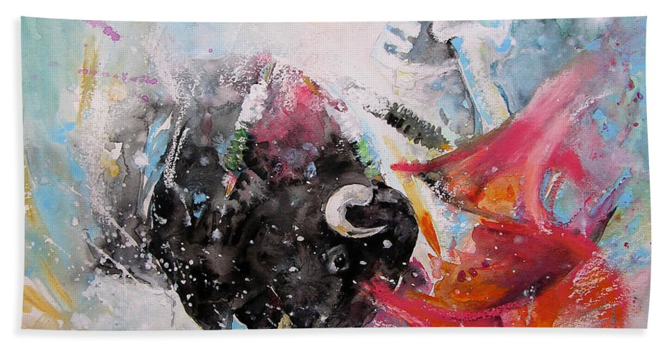 Animals Beach Sheet featuring the painting Toro Tempest by Miki De Goodaboom
