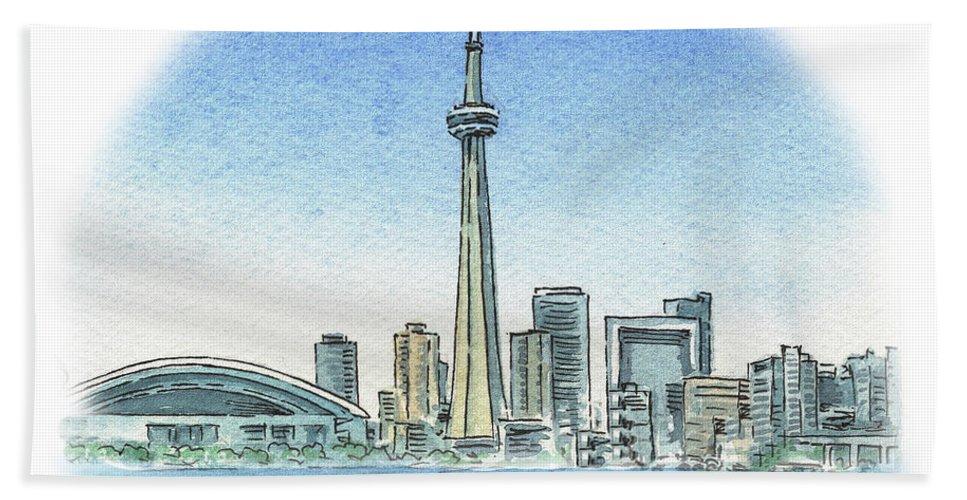 Toronto Beach Towel featuring the painting Toronto Canada City Skyline by Irina Sztukowski