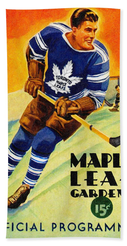 10eee8a9f13 Toronto Beach Sheet featuring the painting Toronto Maple Leafs Vintage  Program by John Farr