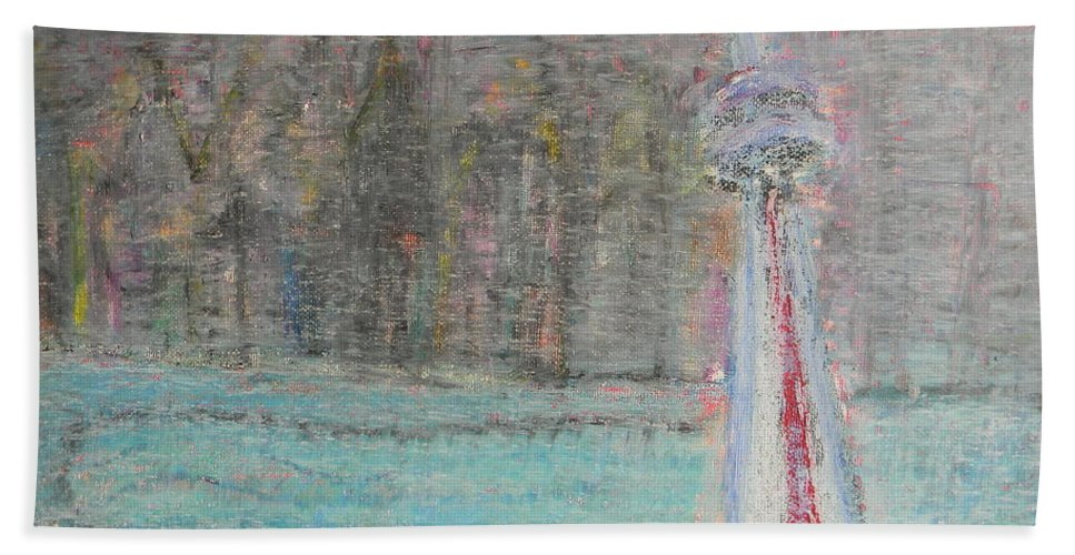 Toronto Beach Towel featuring the painting Toronto The Confused by Marwan George Khoury