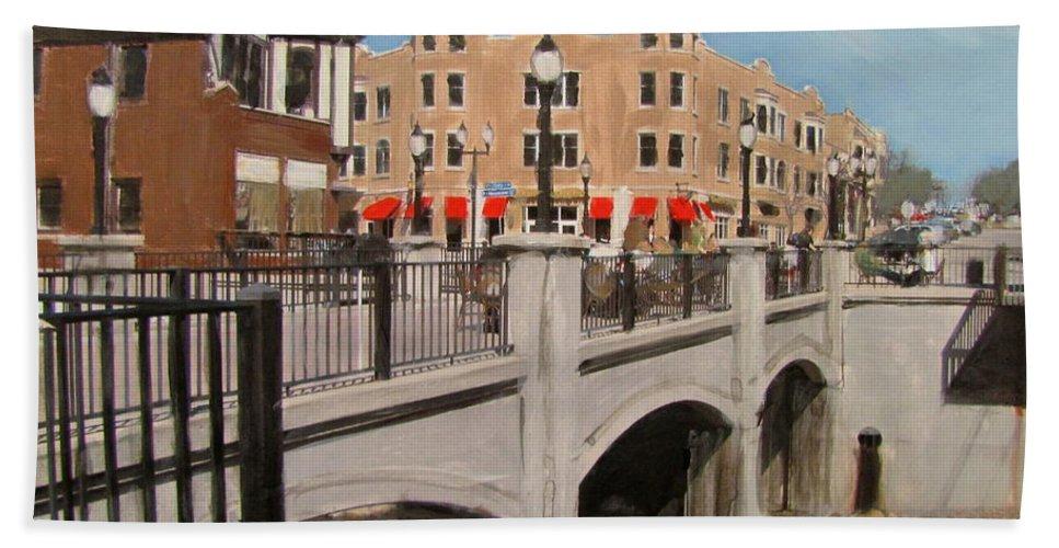 Milwaukee Beach Towel featuring the mixed media Tosa Village Bridge by Anita Burgermeister