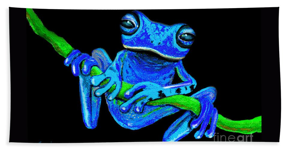 Blue Beach Towel featuring the painting Totally Blue Frog On A Vine by Nick Gustafson
