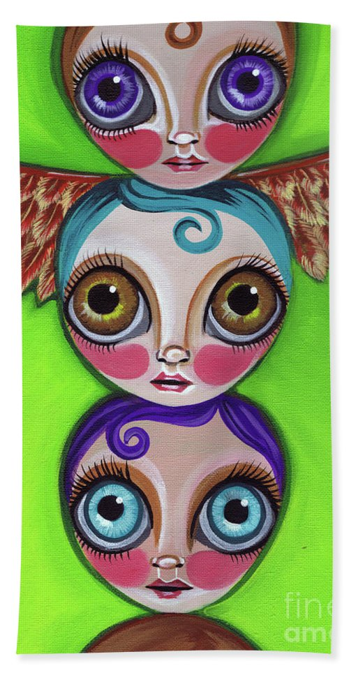 Totem Beach Towel featuring the painting Totem Dolls by Jaz Higgins