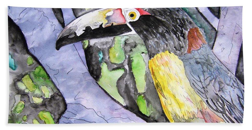 Touccan Beach Towel featuring the painting Toucan Bird Tropical Painting Fine Modern Art Print by Derek Mccrea