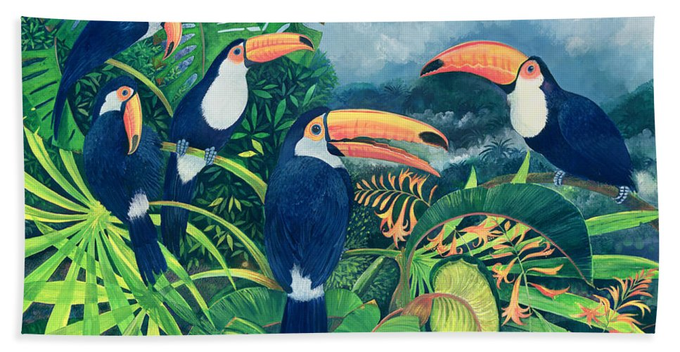 Toucan Beach Towel featuring the painting Toucan Talk by Lisa Graa Jensen
