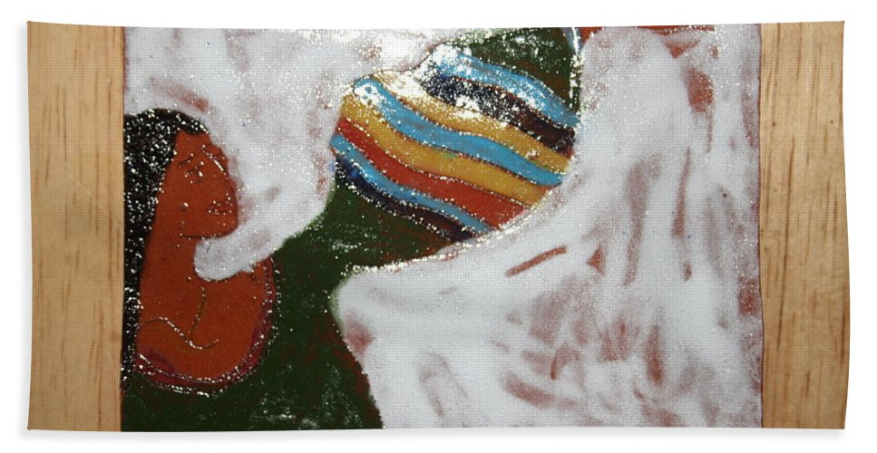 Jesus Beach Towel featuring the ceramic art Touch The Sky - Tile by Gloria Ssali