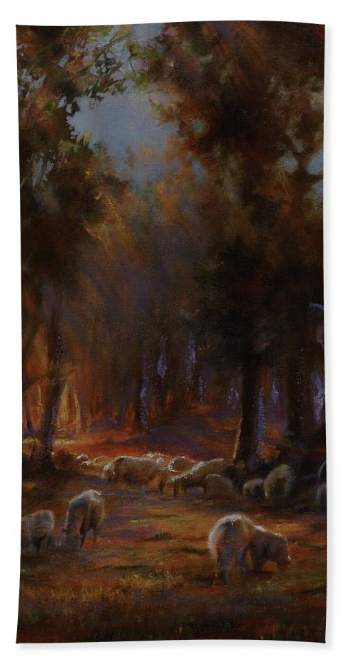 Sheep Beach Towel featuring the painting Touched By Light by Mia DeLode
