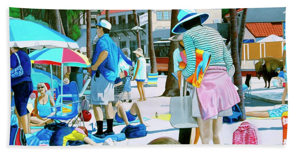 Catalina Beach Towel featuring the painting Tourists by Snake Jagger