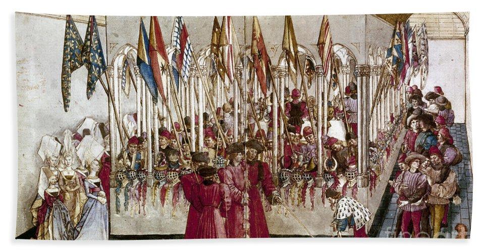 1460s Beach Towel featuring the photograph Tournament: Helmets by Granger