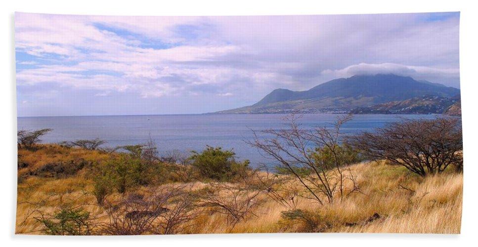 St Kitts Beach Sheet featuring the photograph Towards Basseterre by Ian MacDonald