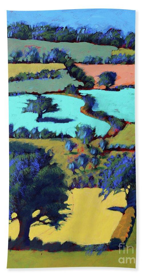 Village Beach Towel featuring the painting Towards Ledbury II by Paul Powis