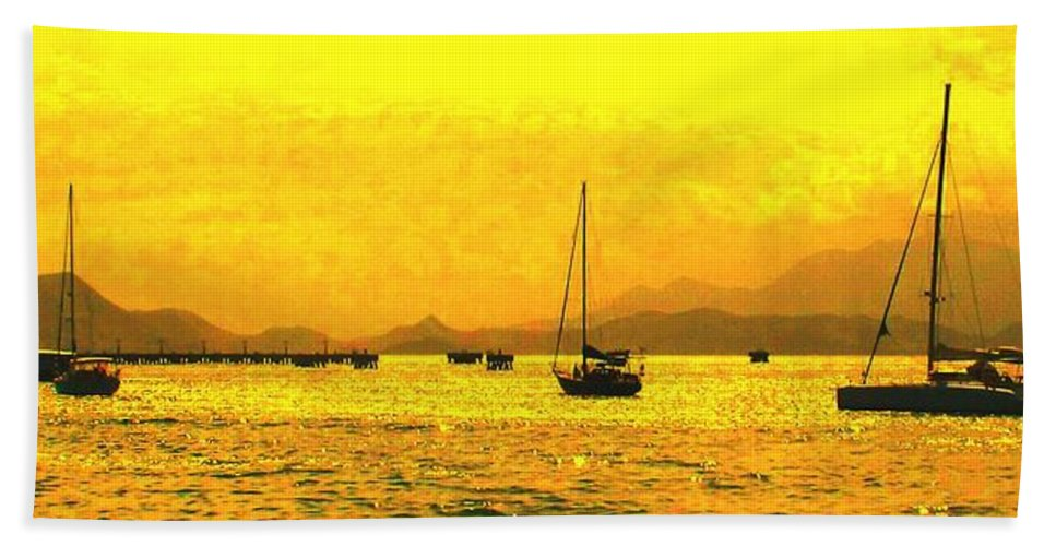 Basseterre Beach Towel featuring the photograph Towards Nevis by Ian MacDonald