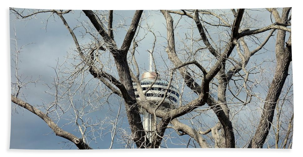 Skylon Beach Towel featuring the photograph Tower And Trees by Valentino Visentini