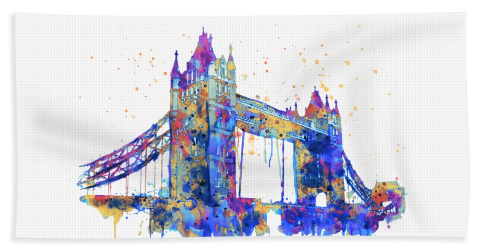 Tower Bridge Beach Towel featuring the painting Tower Bridge Watercolor by Marian Voicu