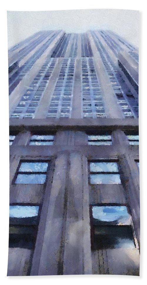 Empire State Building Beach Towel featuring the painting Tower Of Steel And Stone by Jeffrey Kolker