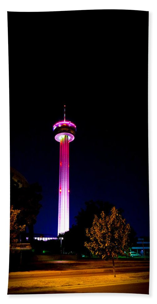 San Antonio Beach Towel featuring the photograph Tower Of The Americas October Night by Marisela Mungia