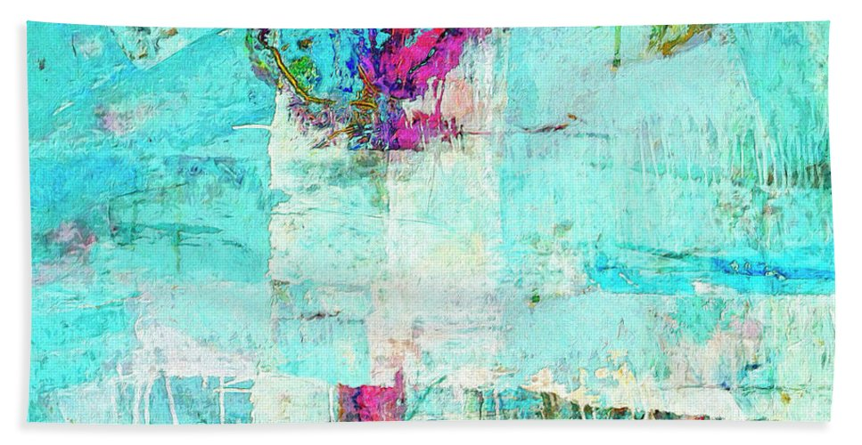 Abstract Beach Towel featuring the painting Towers by Dominic Piperata