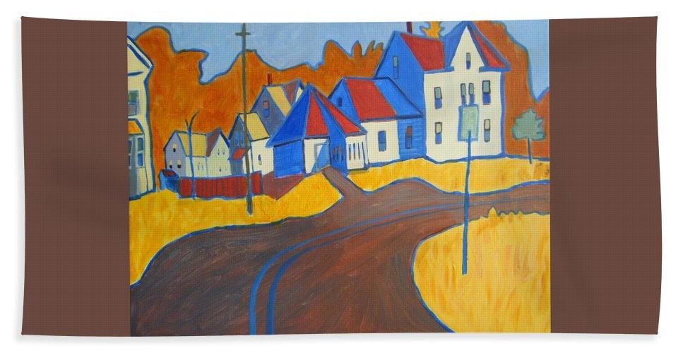 Buildings Beach Sheet featuring the painting Town Center Plaistow Nh by Debra Bretton Robinson