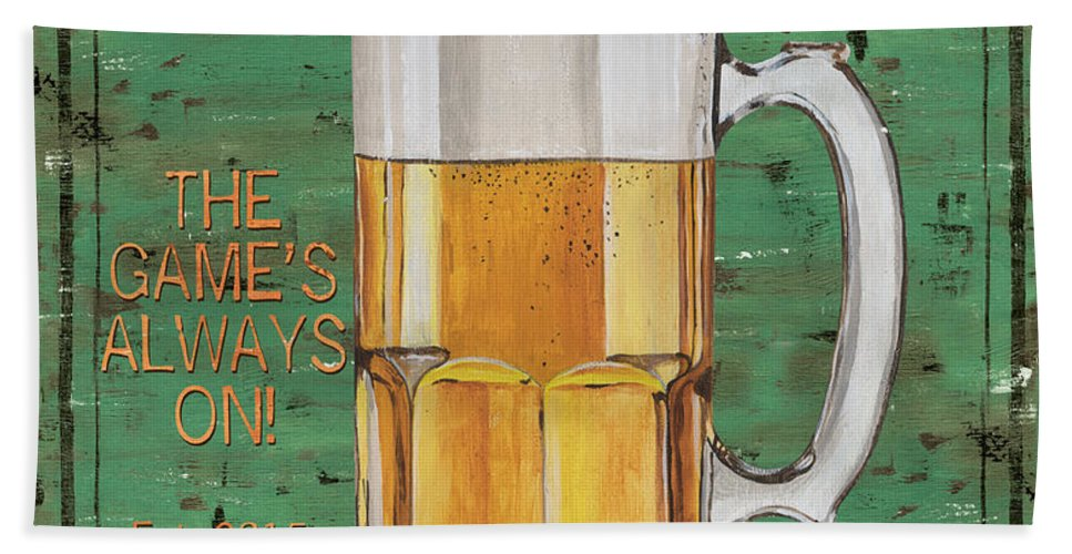 Beer Beach Towel featuring the painting Township Saloon by Debbie DeWitt