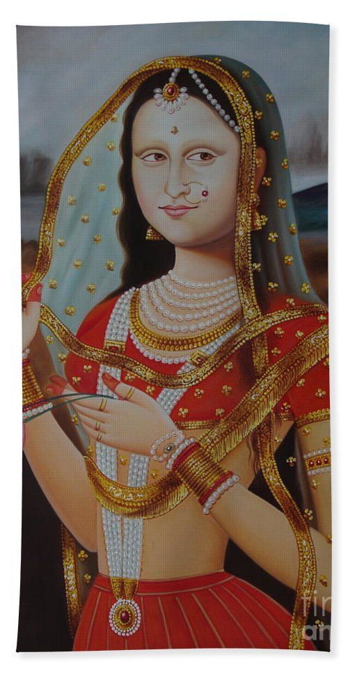Traditional Art Monalisa Oil Painting On Canvas Art N India Art Gallery Beach Towel For Sale By A Mahesh